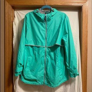 Light green athletic rain jacket